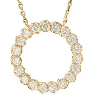 Cred Bespoke Diamond Set Halo Pendant Necklace