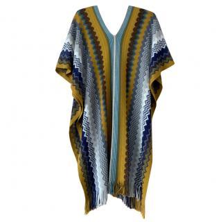 Missoni Yellow & Blue Zig Zag Knit Poncho & Scarf