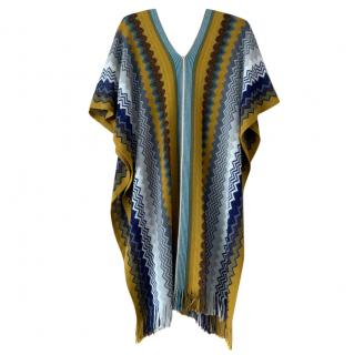 Missoni Yellow & Blue Zig Zag Knit Poncho & Scarf