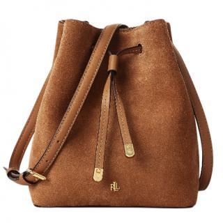 Lauren Ralph Laurent Tan Suede Bucket Bag