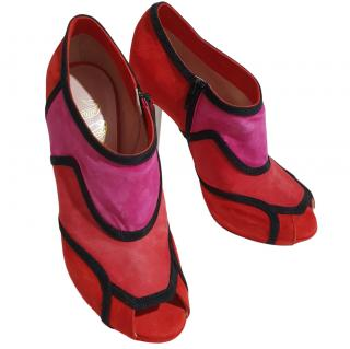 John Richmond Pink & Red Suede Booties