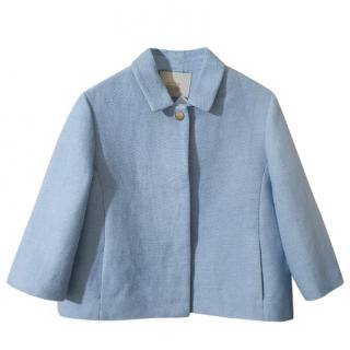 Maje Blue Cotton Cropped Jacket