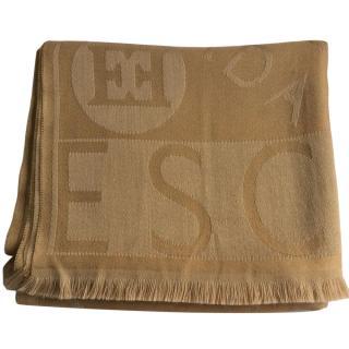 Escada XL Beige Virgin Wool Scarf