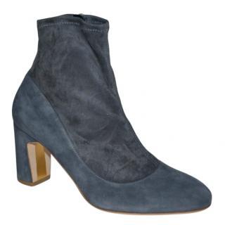 Rupert Sanderson Tamora Pewter Grey Suede Sock Ankle Boots