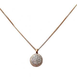 Bespoke Cred Halo Set Diamond Pendant Necklace