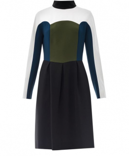 Fendi Black Colourblock Highneck Dress
