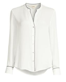 L'agence White Tegan Piped-trim Silk Blouse
