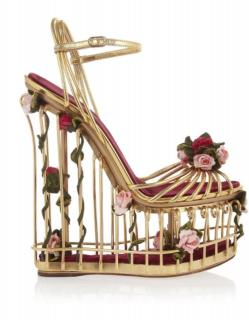 Dolce & Gabbana Metallic Rose Embellished Leather Floral Cage Wedges