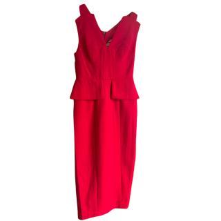 BCBG Max Azria red peplum detail dress.