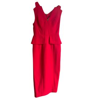 BCBG Max Azria red peplum detail dress.