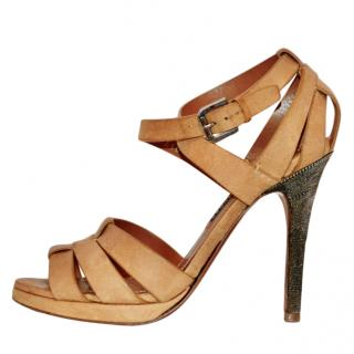 Ralph Lauren collection nude leather runway sandals