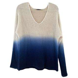 360 Cashmere blue and cream cashmere jumper