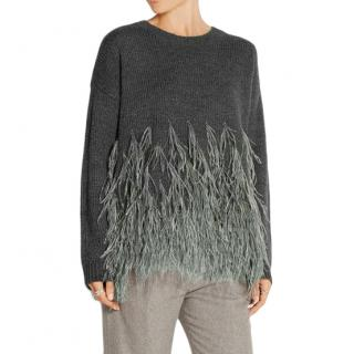 Elizabeth and James | Feather-trimmed cotton-blend sweater