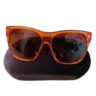 Tom Ford Clear Orange Acetate Sunglasses