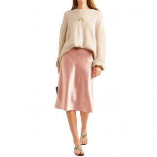 Vince pink hammered-satin skirt