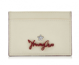 Jimmy Choo Aries Linen Grainy Leather Card Holder