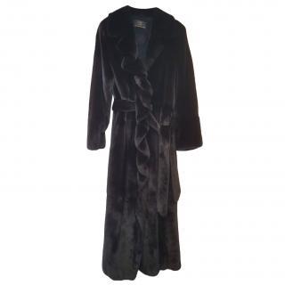 Bespoke Mink Fur Black Long Coat