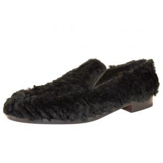 Rupert Sanderson Black Langley Rabbit-fur Loafers