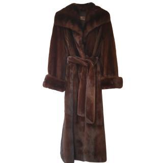 Bespoke Brown Long Mink Fur Coat