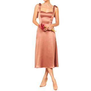 Reformation Pink Satin Midi Dress
