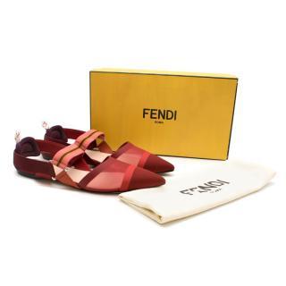 Fendi Red and Pink Mesh Slingback Flats