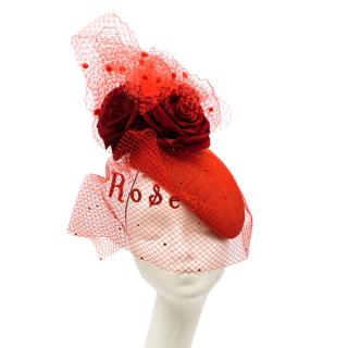 Victoria Grant Bespoke Red Rose Tulle Embellished Head Piece