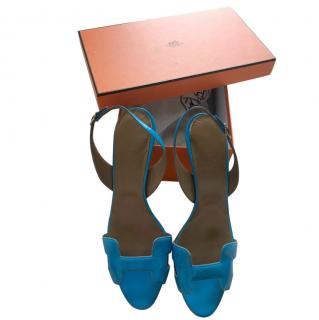Hermes Turquoise Patent Leather H Sandals