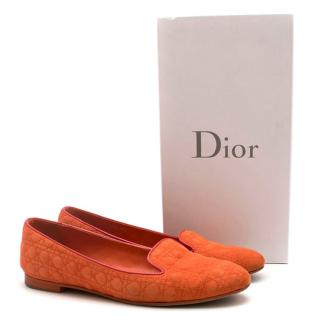 Christian Dior Orange Suede Cannage Loafers