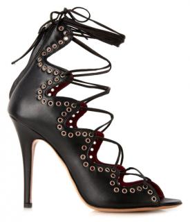 Isabel Marant Black Lelie Lace-Up Leather Sandals