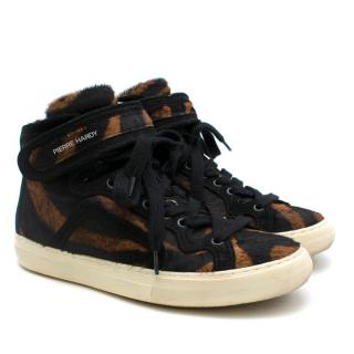 Pierre Hardy Tiger-Printed Pony Hair Sneakers