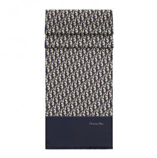 Dior Blue Silk Monogram Scarf