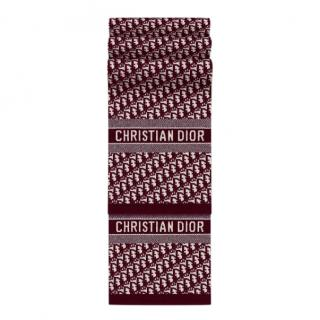 Dior CD Oblique stole in burgundy wool and cashmere