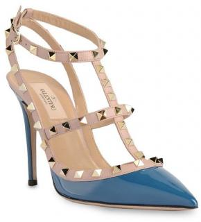 Valentino Rockstud 100mm Blue Patent Leather T-Strap Sandal