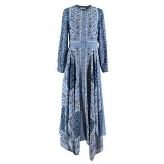 Altuzarra Blue Multi-Print Shirt Midi Dress
