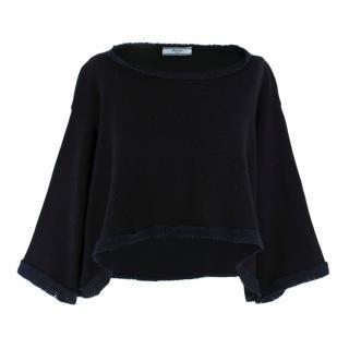 Prada Contrast Hem Knit Oversize Wool & Cashmere Jumper
