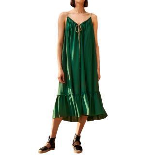 Three Graces London Agatha Midi Ruffle Dress