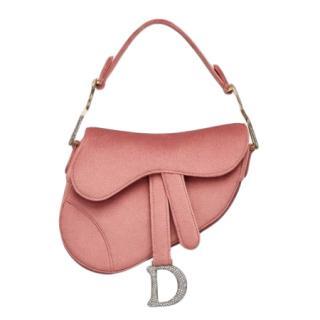 Dior Pink Crystal Embellished Mini Saddle Bag