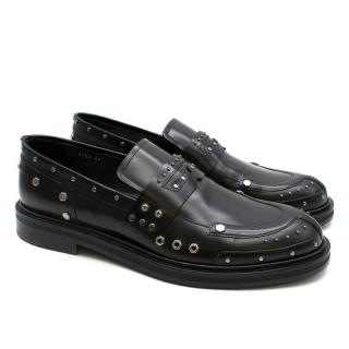 Versace Black Studded Leather Loafers