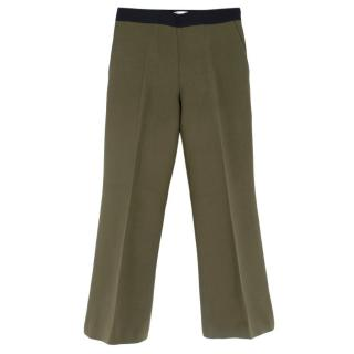 Fendi Green Wool & Silk Flared Cropped Trousers