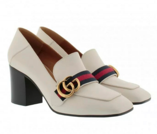 Gucci Peyton Mid-heel Leather Loafers In White