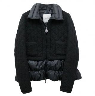 Moncler Black Mohair & Virgin Wool Peplum Puffer Jacket