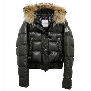Moncler Khaki Short Down Fur Trimmed Jacket