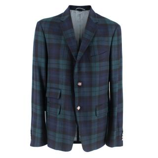 Gucci Green & Blue Checked Jacket