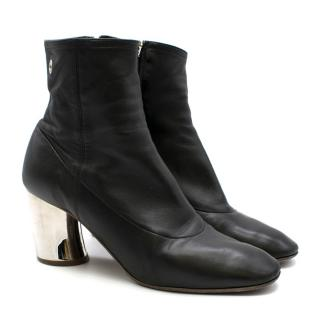 Proenza Schouler Black Leather Sock Ankle Boots