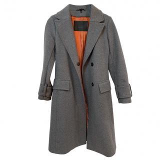Belstaff Grey Wool Coat W/ Removable Fur Collar
