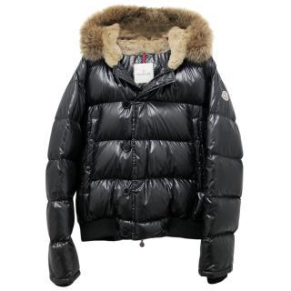 Moncler Black Puffer Coat W/ Coyote Fur Trim