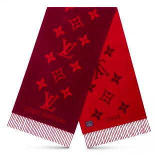 Louis Vuitton Red Cashmere Reykjavik Scarf