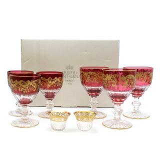 Saint-Louis Set of 6 Trianon Wine Glasses & Two Thistle Coffee Cups
