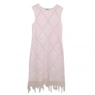 Chanel Pale Pink Diamond Knit Fringe Mini Dress