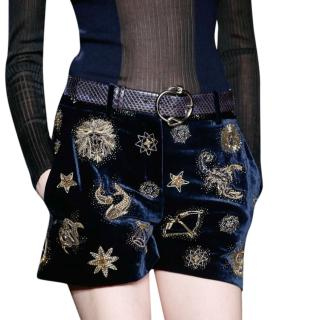 Emilio Pucci Blue Velvet Embroidered Shorts